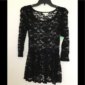 NWT Decree Black Lace high-low blouse